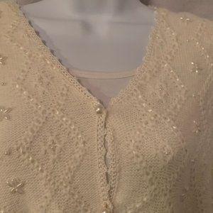 Koret Size 2X Sweater Vest Cream w/ Beaded Accents